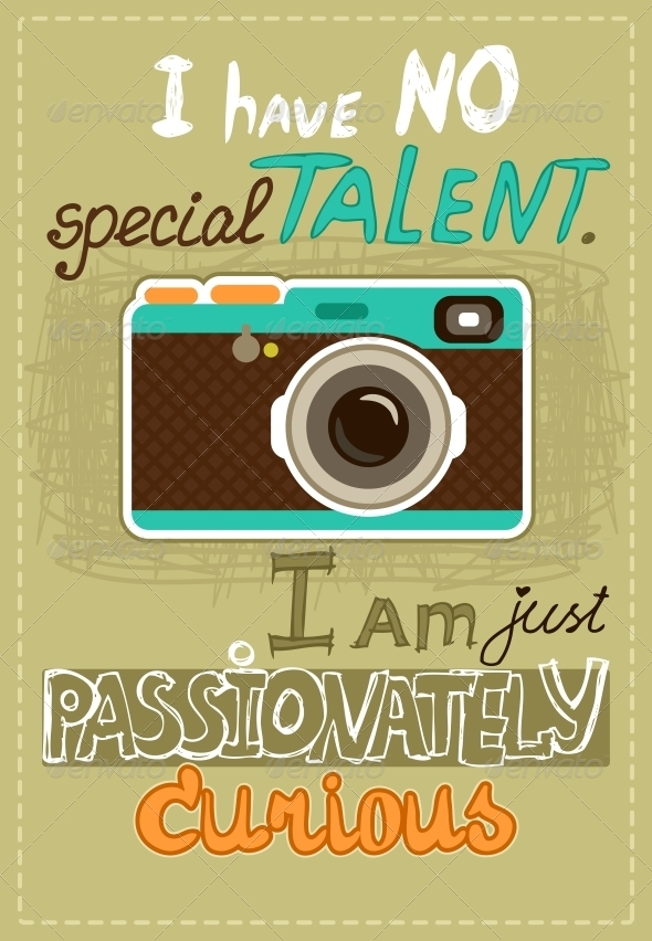 Hipster Poster with Vintage Camera - Backgrounds Decorative