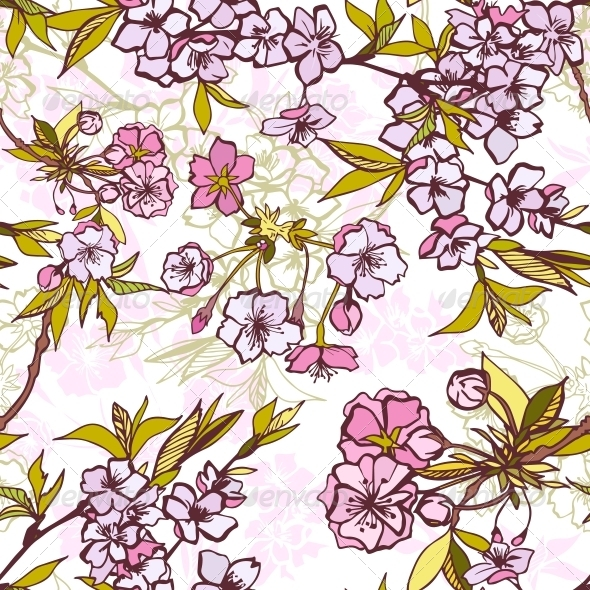 Seamless Background Pattern with Blossoming Sakura - Backgrounds Decorative