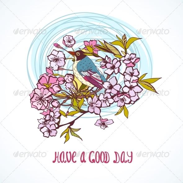 Good Day Wishing Card - Decorative Symbols Decorative