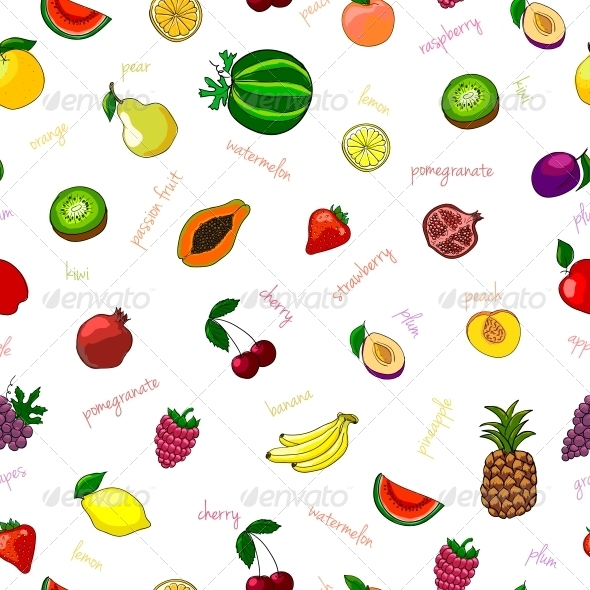 Fresh Fruits Seamless Pattern - Food Objects