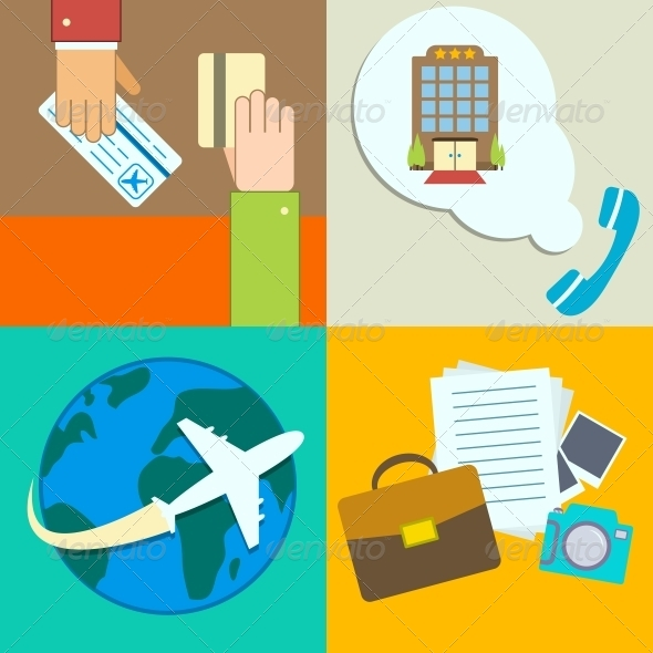 Business Travel Infographics Icons Set - Travel Conceptual