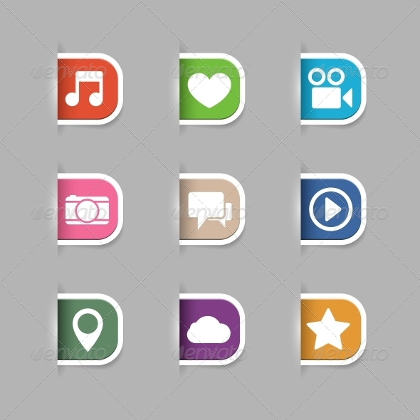 Collection of Social Media Pictograms - Web Elements Vectors