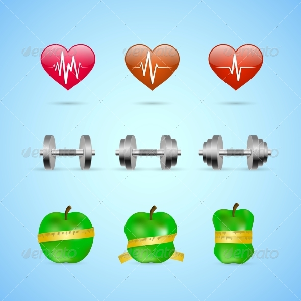 Fitness Exercises Progress Icons Set - Web Elements Vectors