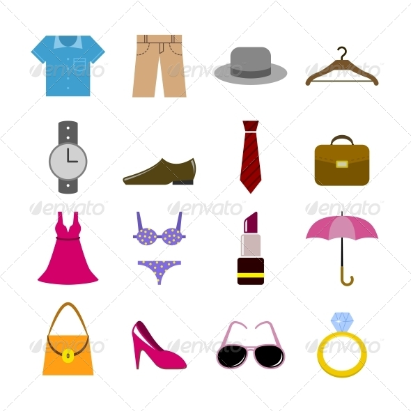 Collection of Clothes Accessories - Web Elements Vectors