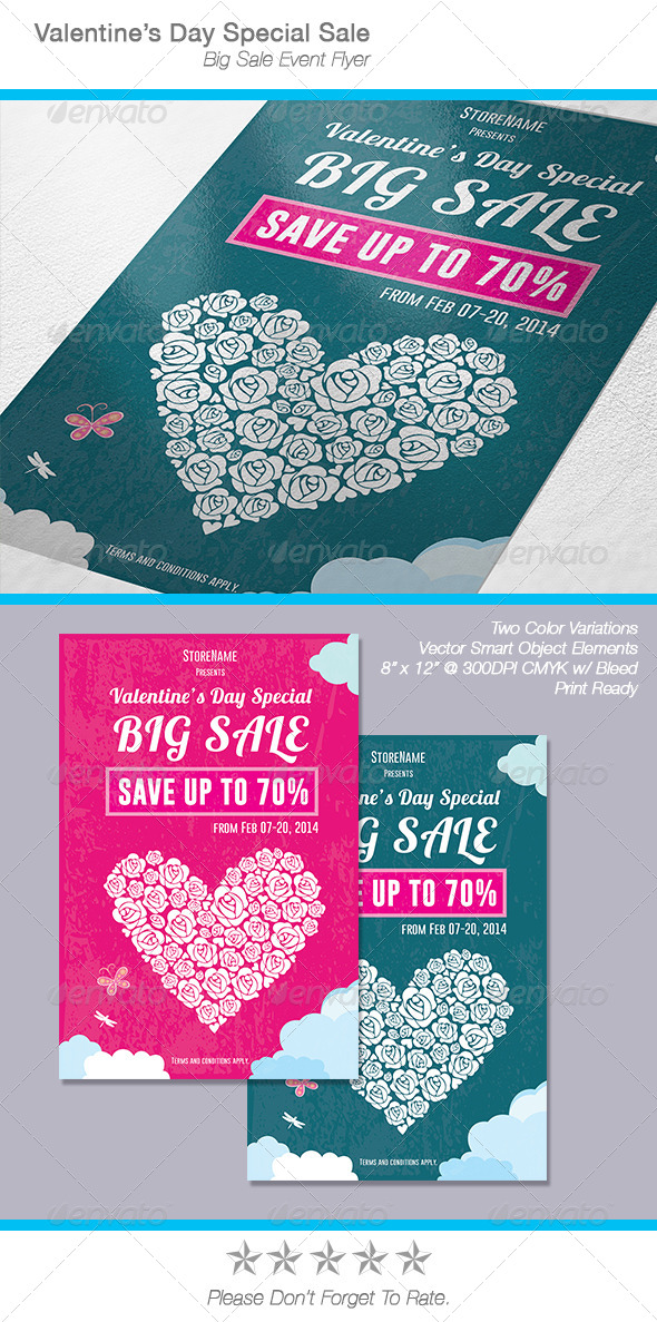 Valentine's Day Sale Flyer / Poster - Events Flyers