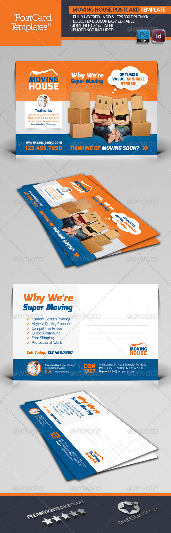 Moving House Postcard Template - Corporate Flyers