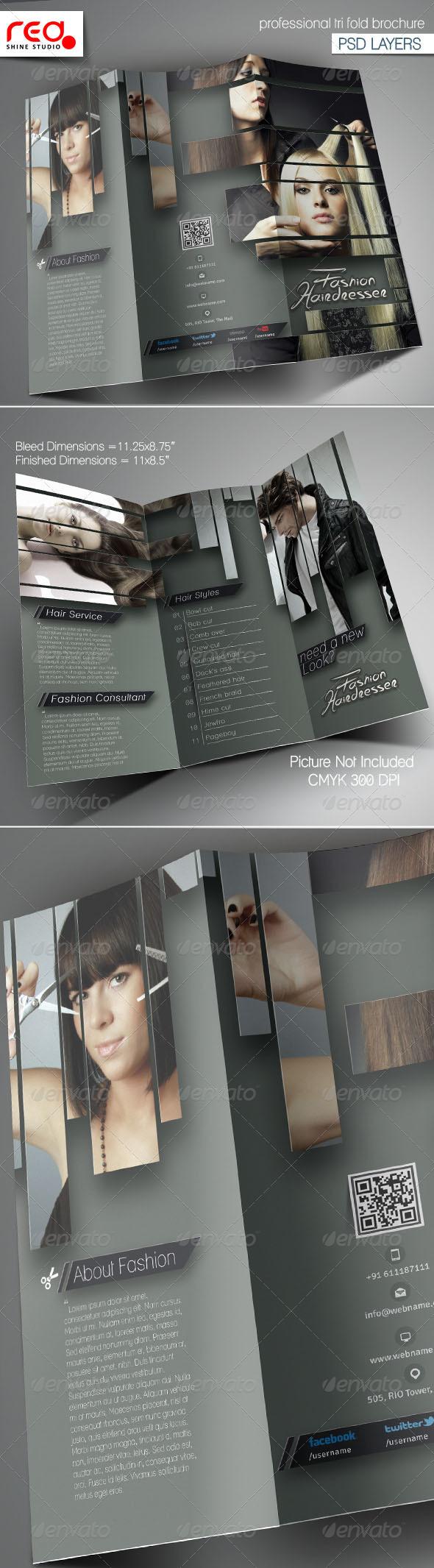 Hairdresser Salon Trifold Brochure Template - Brochures Print Templates
