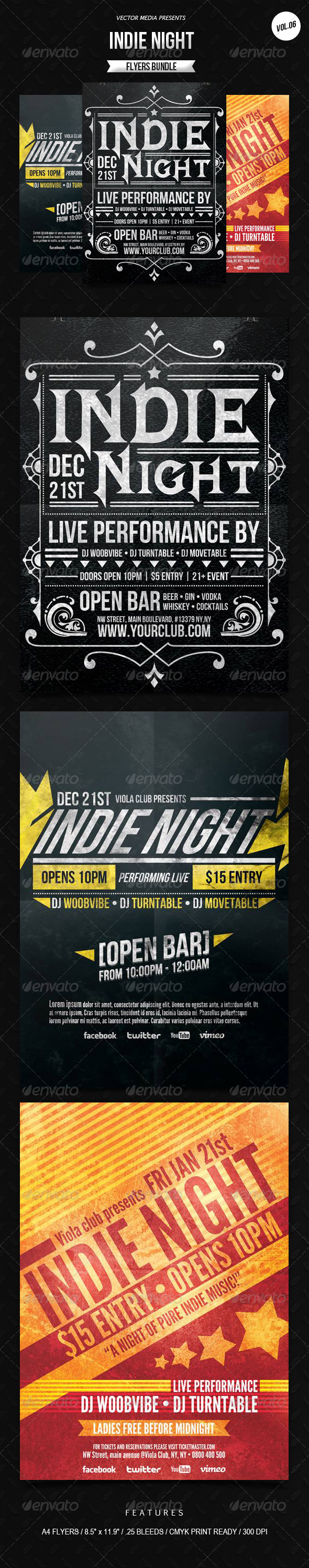 Indie Night - Flyers Bundle [Vol.6] - Clubs & Parties Events