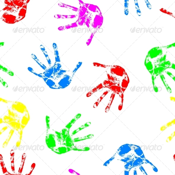 Seamless Hand Print Wallpaper - People Characters