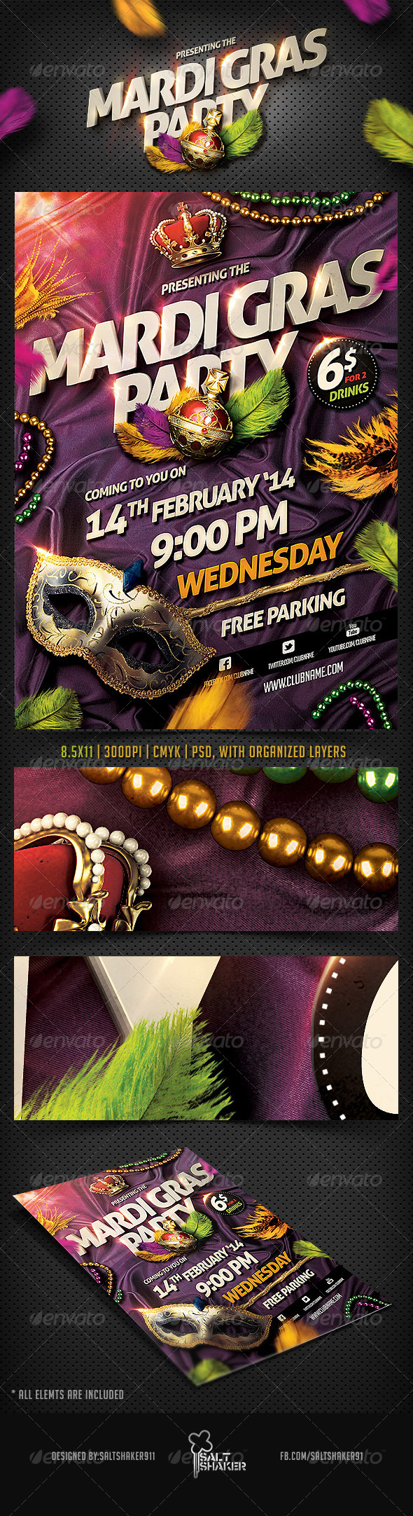 Mardi Gras Carnival Flyer - Clubs & Parties Events