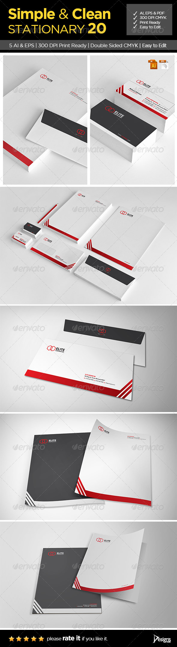Simple and Clean Stationary 20 - Business Cards Print Templates