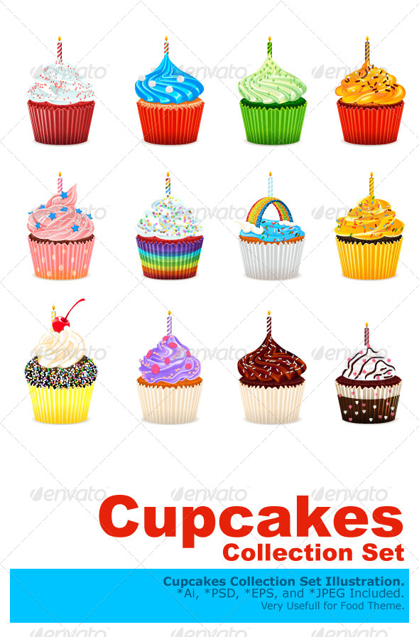 Cupcakes Vector Illustration Collection Set - Food Objects
