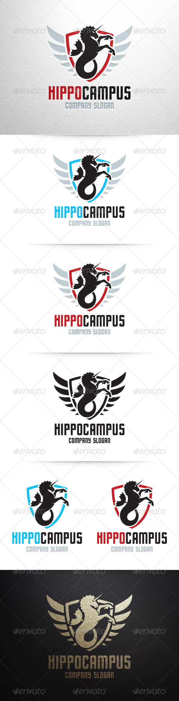 Hippocampus Logo Template - Crests Logo Templates