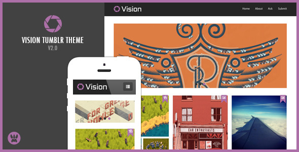 Free Download Vision - Responsive Tumblr Theme Nulled Latest Version
