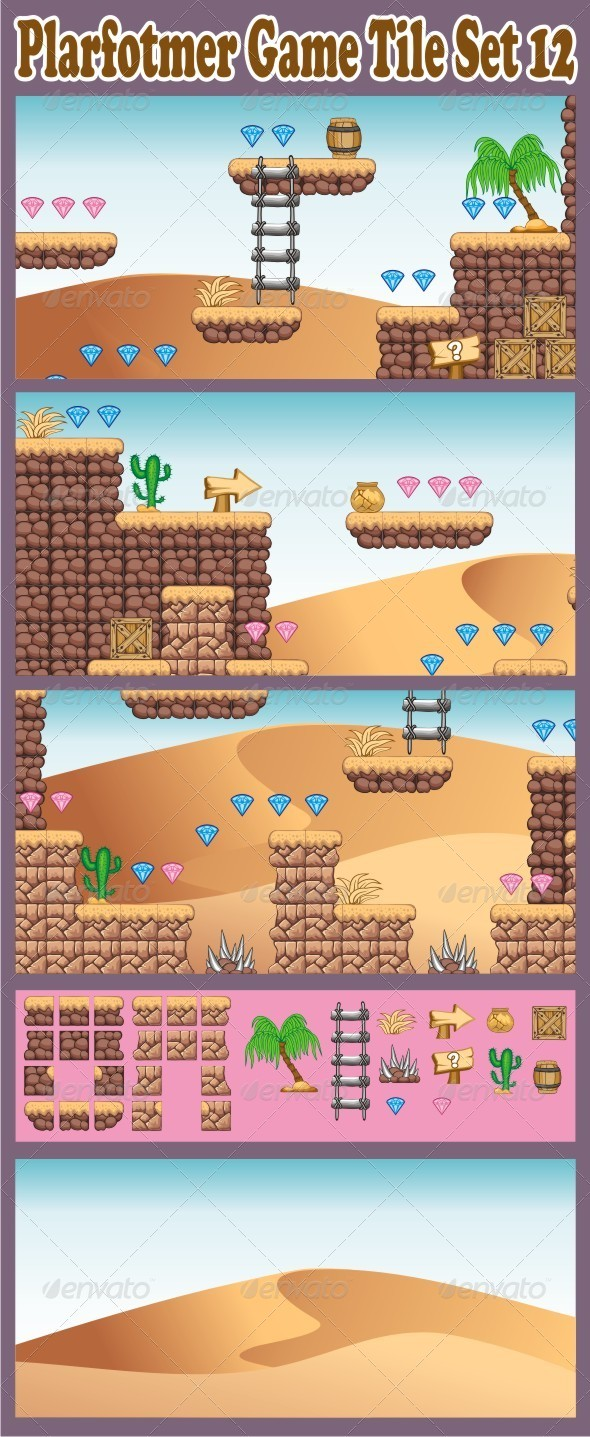 Platformer Game Tile Set 12 - Tilesets Game Assets