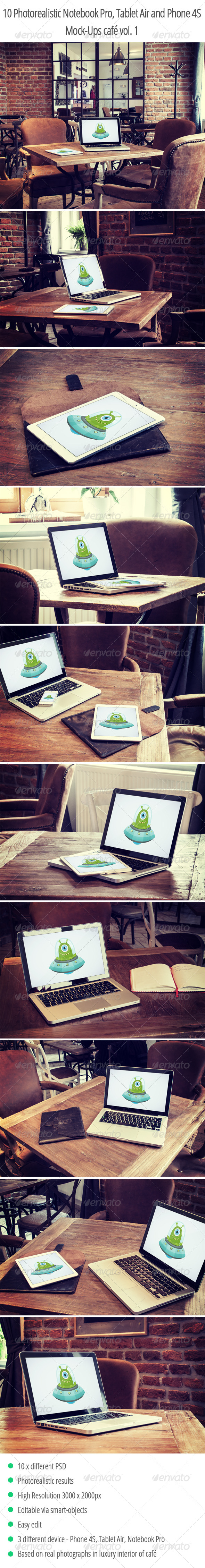10 Photorealistic Device Mock-Ups in Cafe Vol.1 - Displays Product Mock-Ups