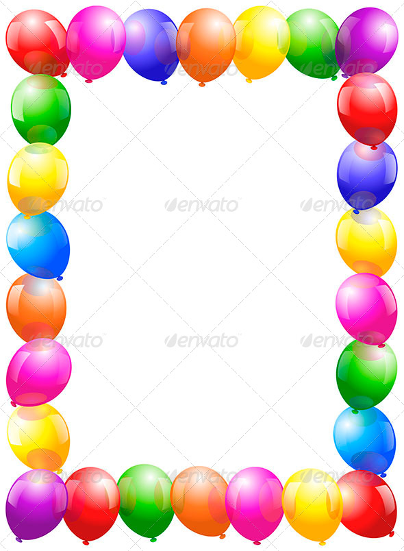 Balloons Frame Portrait Format - Borders Decorative