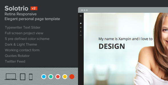 Solotrio - Retina Responsive Elegant Personal One-Page Template - Personal Site Templates