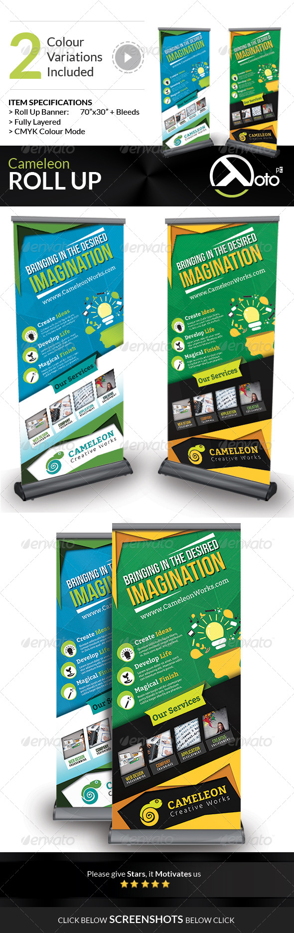 Cameleon Works Roll Up Banners - Signage Print Templates