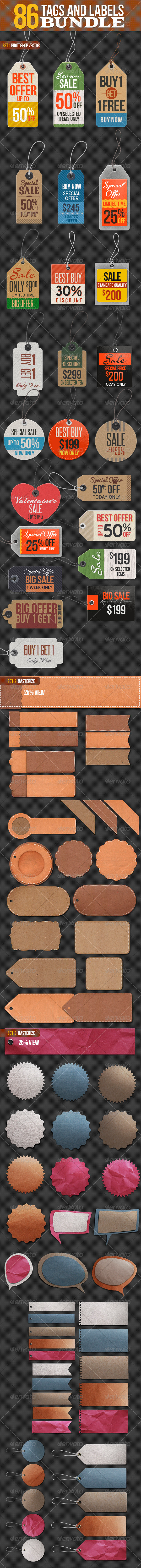 86 Tags and Labels Bundle - Badges & Stickers Web Elements