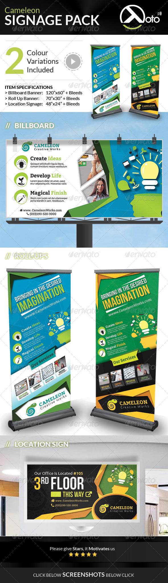 Cameleon Works Signage Bundle Pack - Signage Print Templates