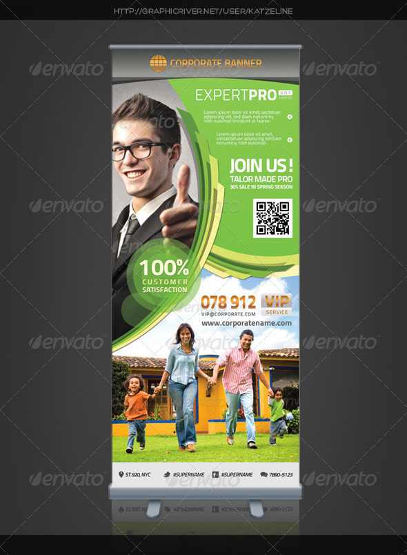 Corporate Roll-up Banner - Expert Pro by katzeline | GraphicRiver