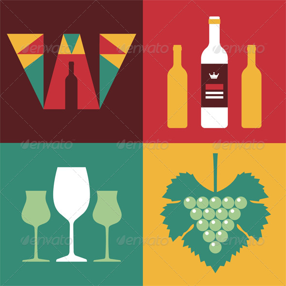 Wine Icons in Flat Design Style - Food Objects