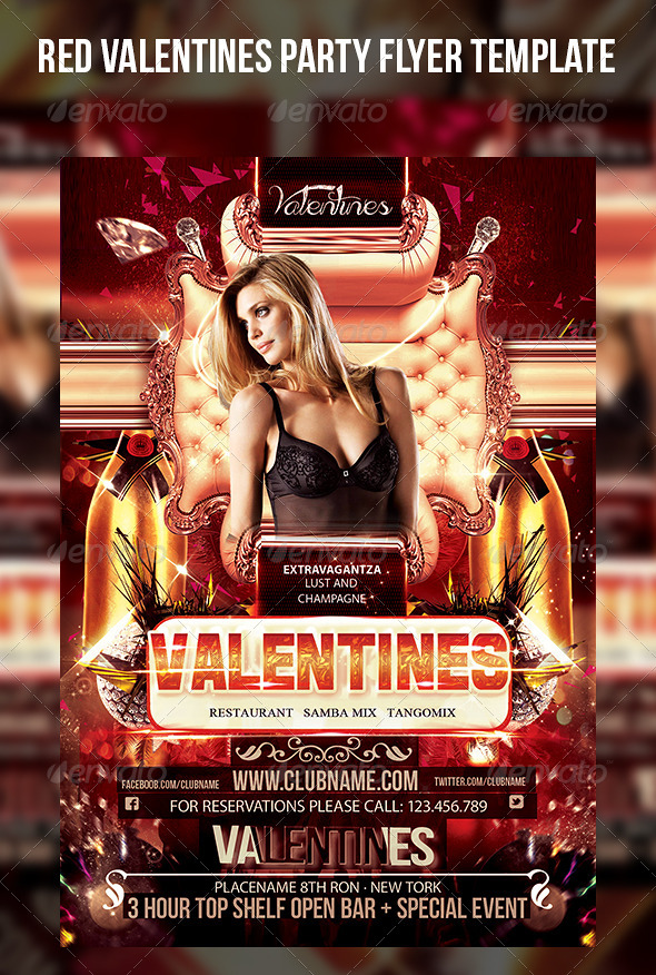 Red Valentines Party Flyer Template - Events Flyers