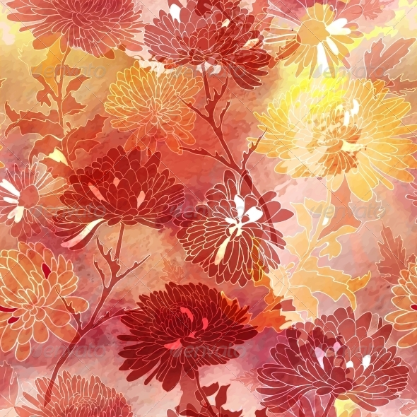 Floral Seamless Background with Chrysanthemum - Flourishes / Swirls Decorative