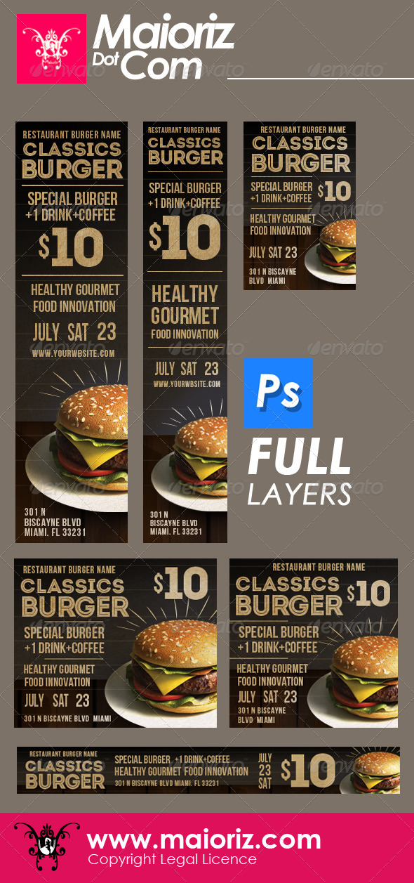 Classic Burger Banners Ads - Banners & Ads Web Elements
