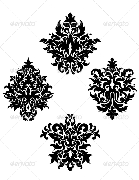 Four Different Foliate Arabesque Motifs - Flourishes / Swirls Decorative