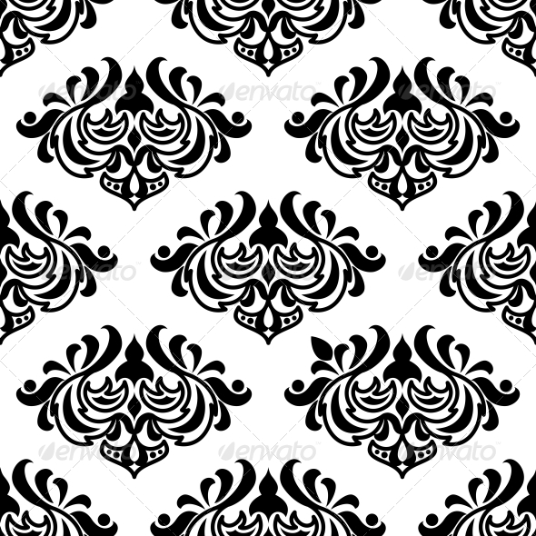 Seamless Damask-Style Floral Pattern - Patterns Decorative