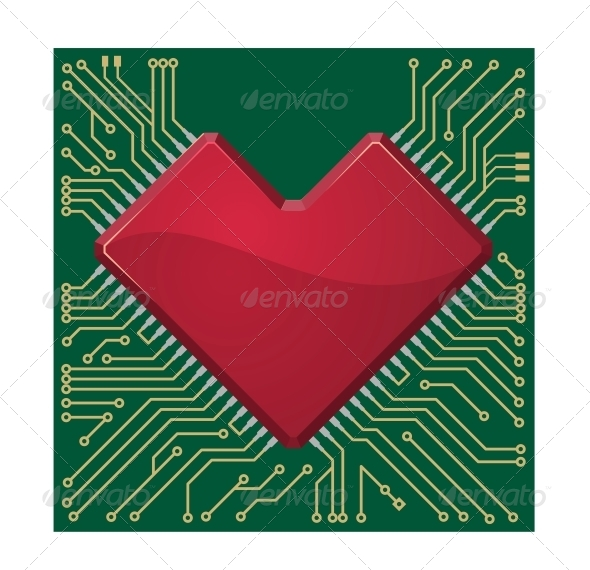 Heart on a Circuit Board - Valentines Seasons/Holidays