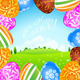 Green Landscape Background with Easter Eggs - GraphicRiver Item for Sale