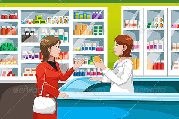 Buying Medicine in Pharmacy - Health/Medicine Conceptual