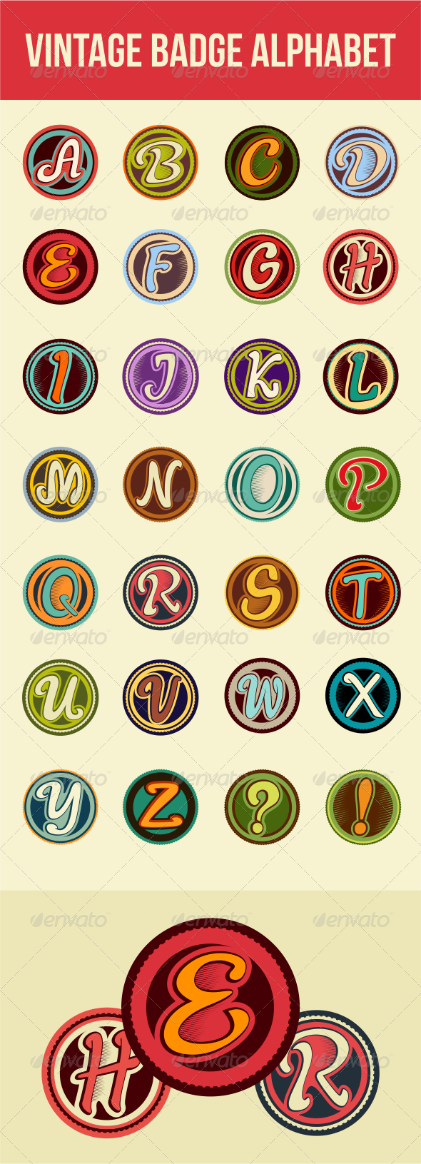 Vintage Badge Alphabet  - Decorative Symbols Decorative