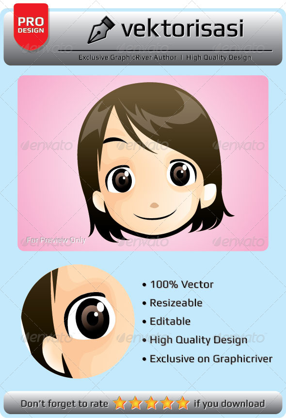 Little Girl Face Vector - People Characters