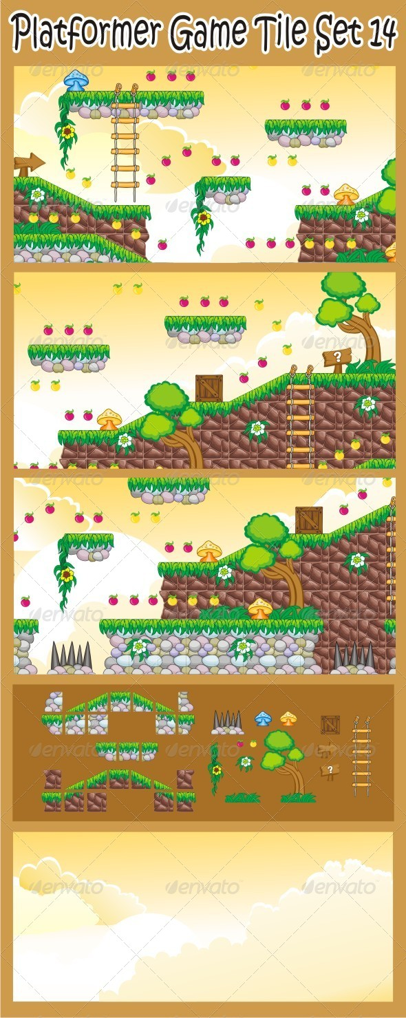 Platformer Game Tile Set 14 - Tilesets Game Assets