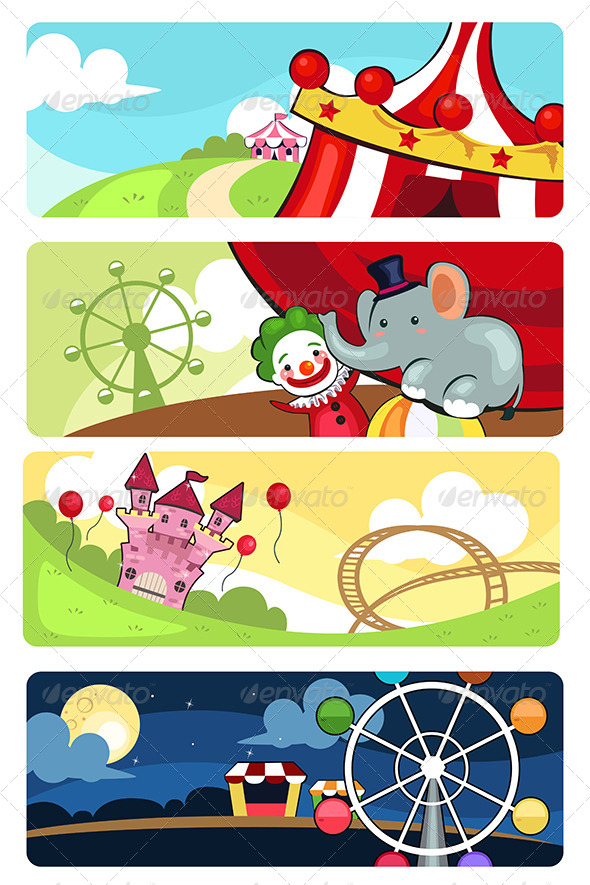 Amusement Park Banners - Decorative Vectors