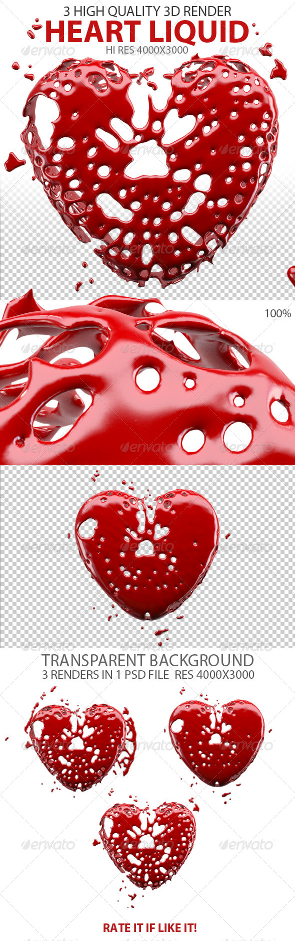 Heart Splash Liquid  - Miscellaneous 3D Renders
