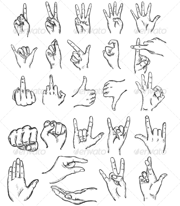 Sketch Finger Gestures - Miscellaneous Vectors