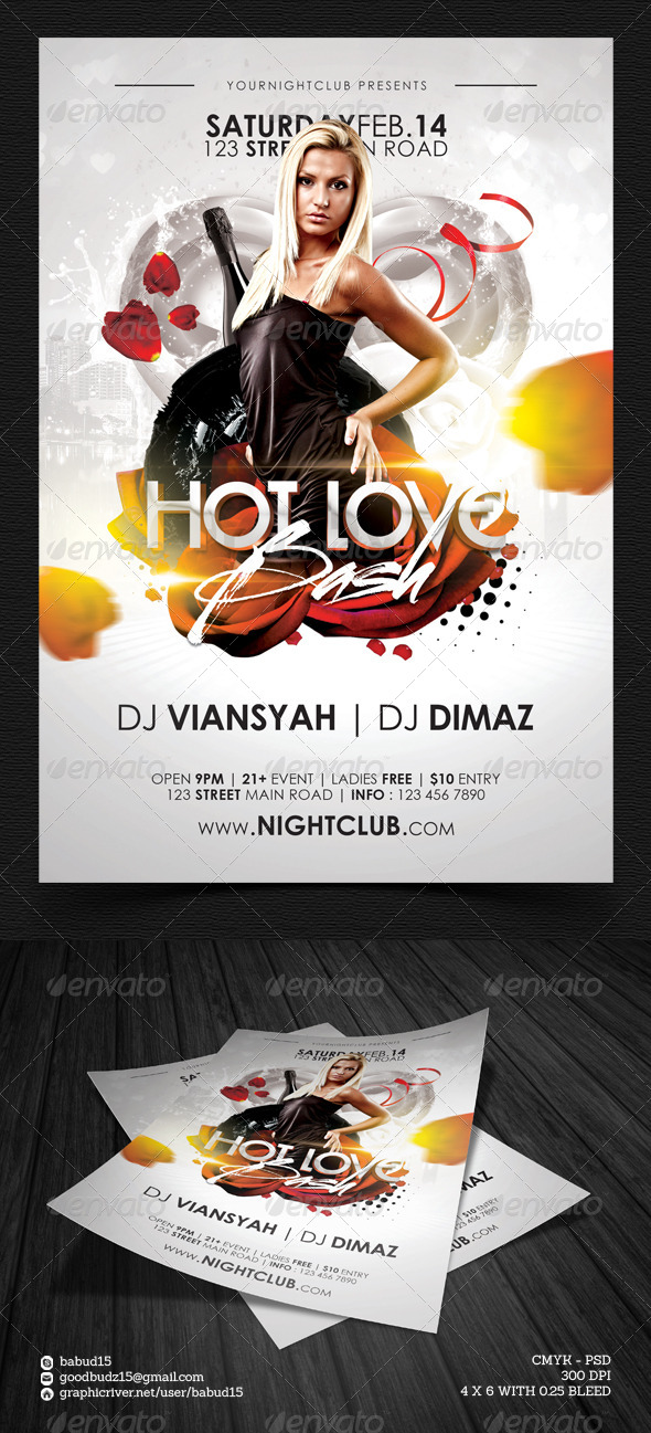 Hot Love Bash Flyer Template - Events Flyers