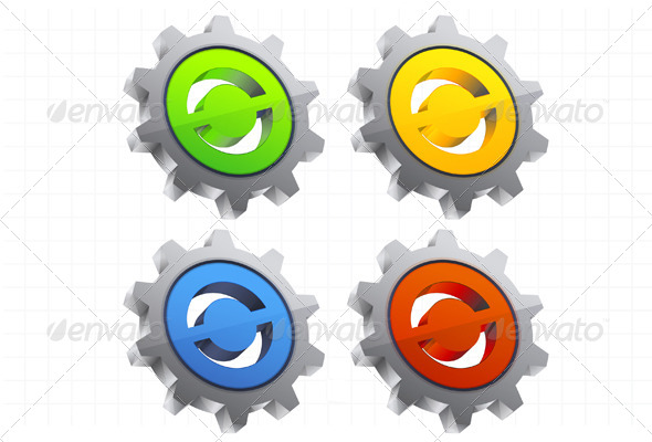 Gear Icon Set - Illustration - Technology Conceptual