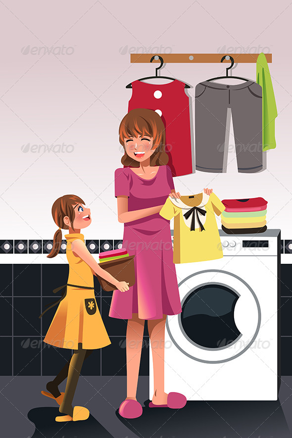 Mother Daughter doing Laundry - People Characters