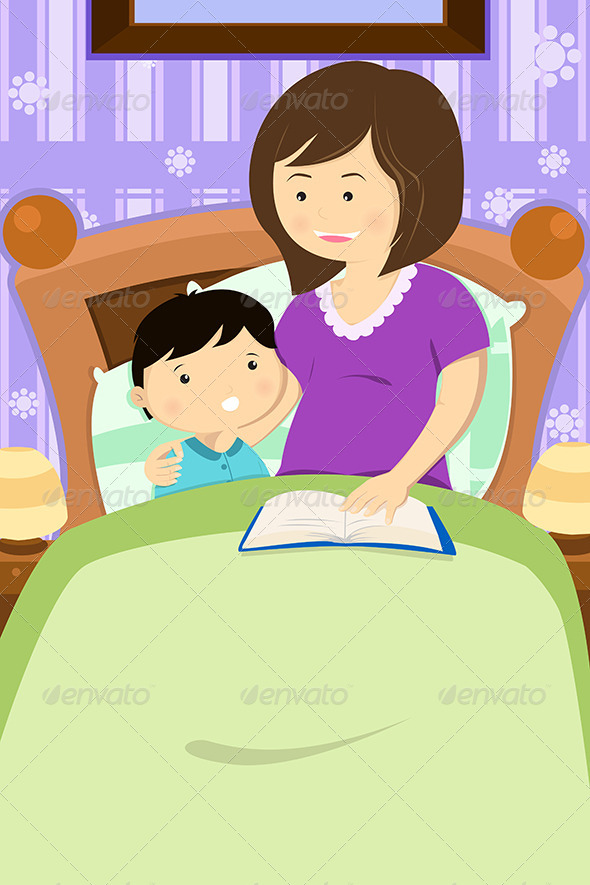 Mother Reading a Bedtime Story - People Characters