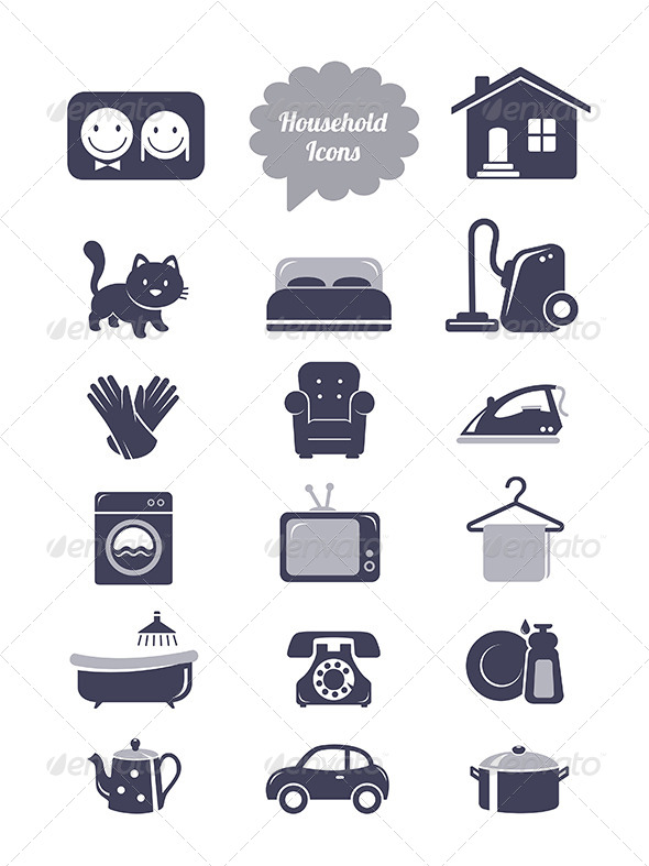 Household Icons Set - Objects Icons