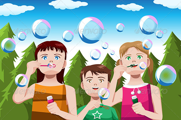 Kids Blowing Bubbles - People Characters