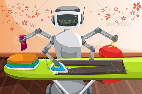 Robot Ironing Clothes - Technology Conceptual