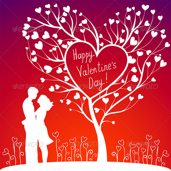 Couple with Valentines Tree - Valentines Seasons/Holidays