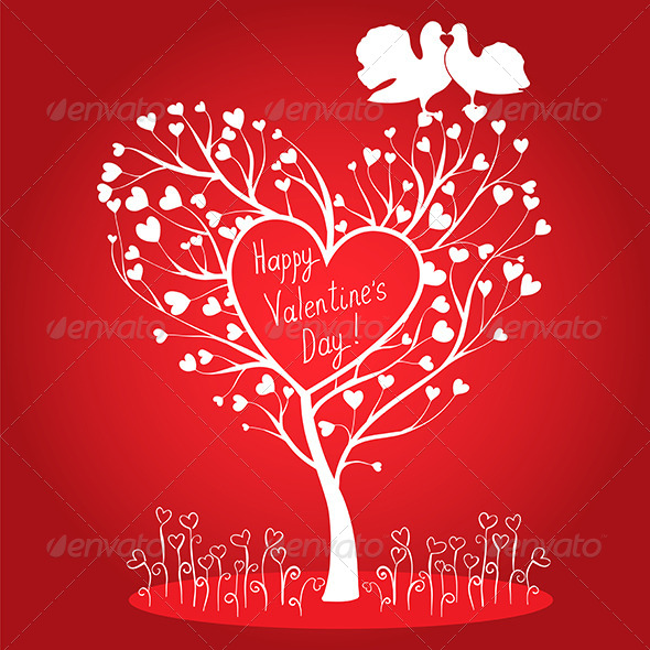 Greating Card with Tree and Doves - Valentines Seasons/Holidays